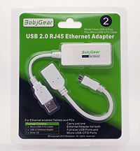 BobjGear Model 2  USB-A to RJ45 Ethernet  Adapter and Connecting Micro USB-OTG Cable