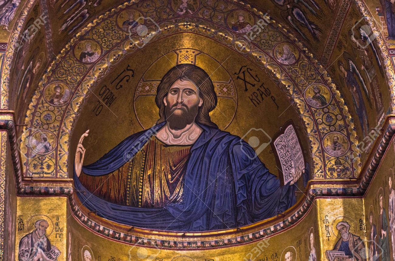 40798169-Christ-Pantocrator-fresque-l-int-rieur-de-la-cath-drale-de-Monreale-ou-Duomo-di-Monreale-pr