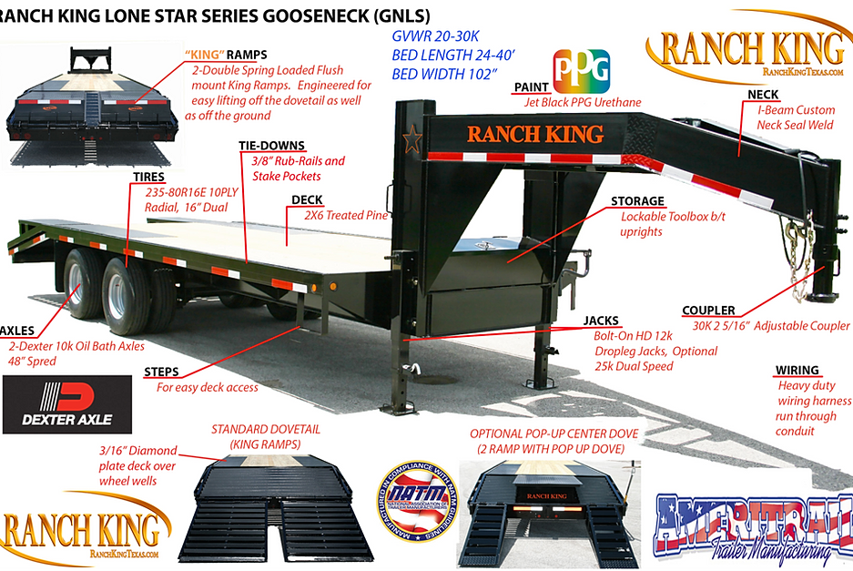 trailerwheelcom gnls lone star series gooseneck