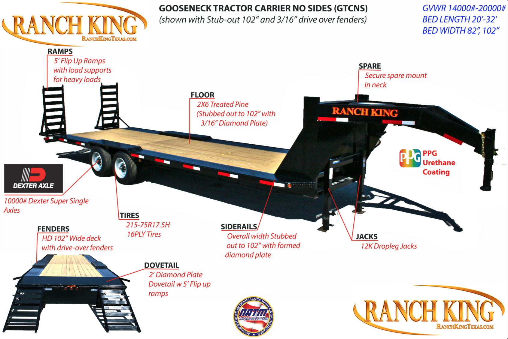 GTCNS Gooseneck Tractor Carrier No Sides