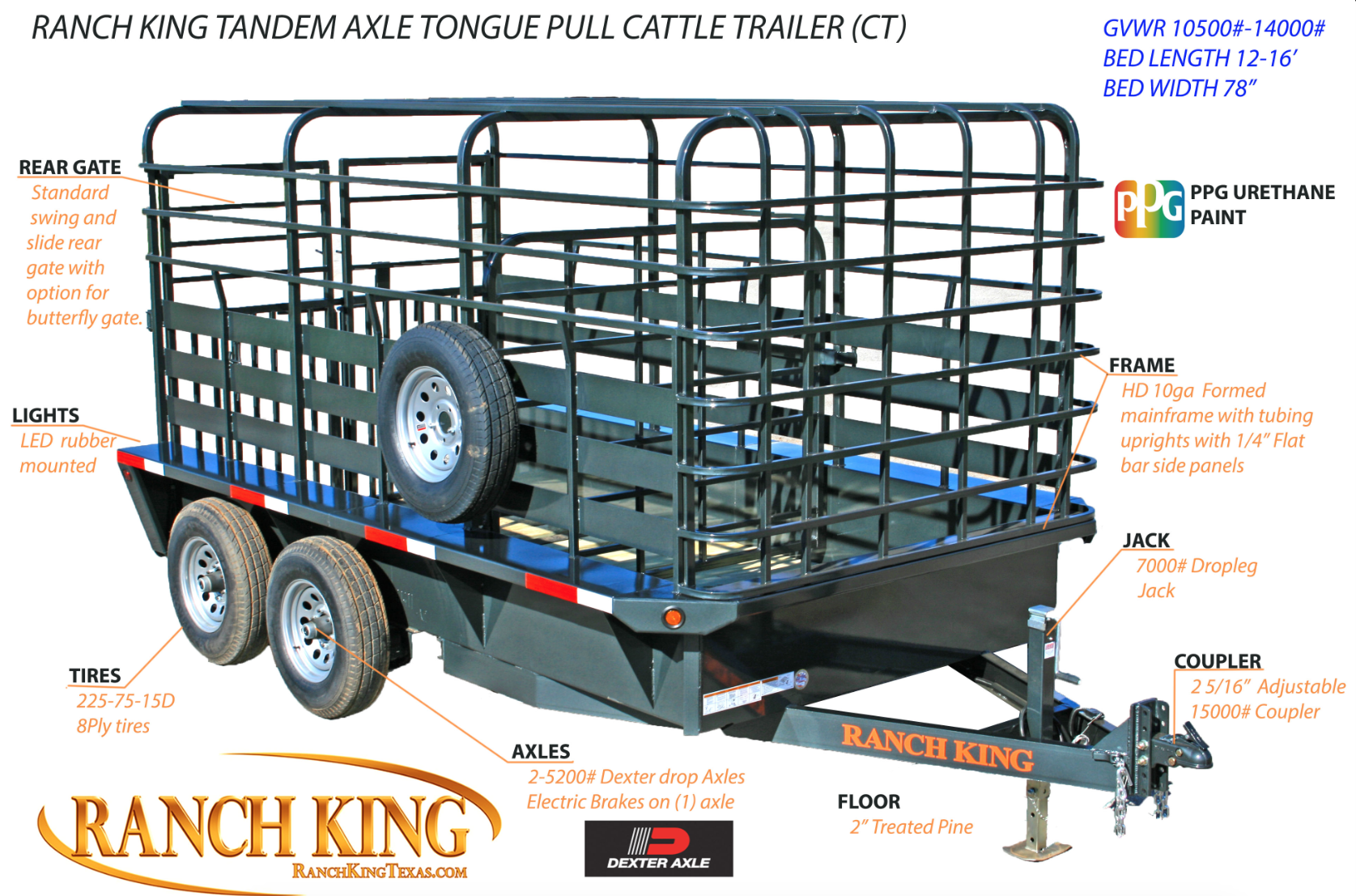 Tandem Axle Cattle Trailer