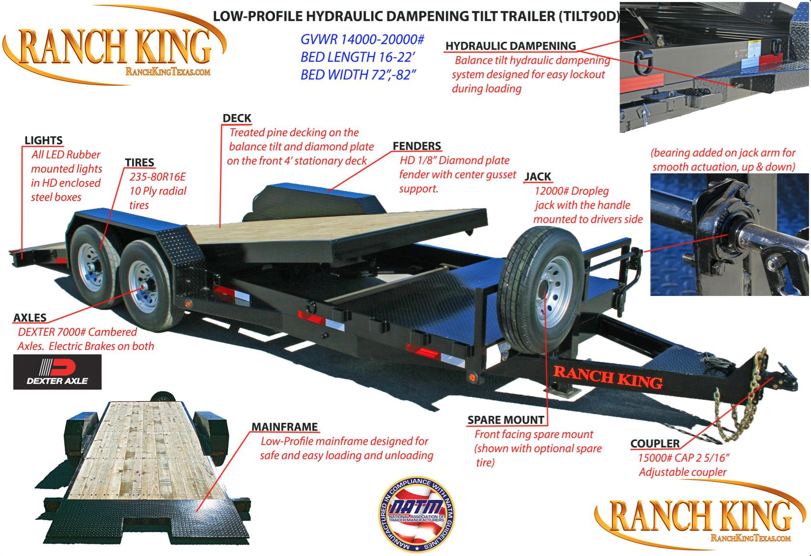 TILT90D Low-Pro Hyd Dampening Tilt Trailer