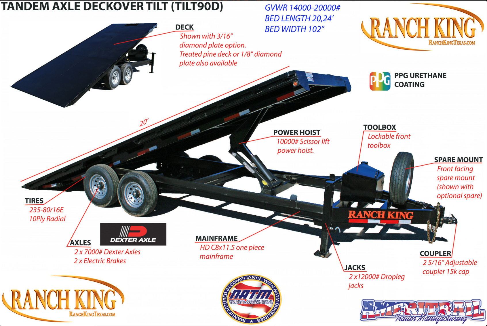 TILT90D Tandem Axle Deckover Tilt Trailer