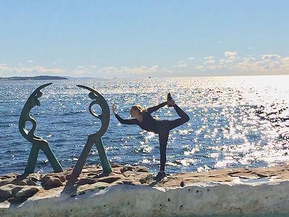 Dancer pose, yoga, Shelley Beach, Manly