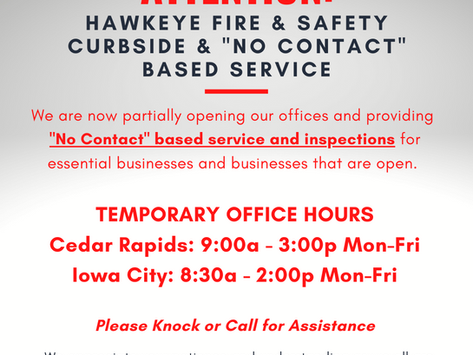 """HAWKEYE FIRE CURBSIDE & """"NO CONTACT"""" BASED SERVICE"""
