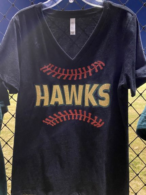 Hawks Women's Black Bling T-Shirt
