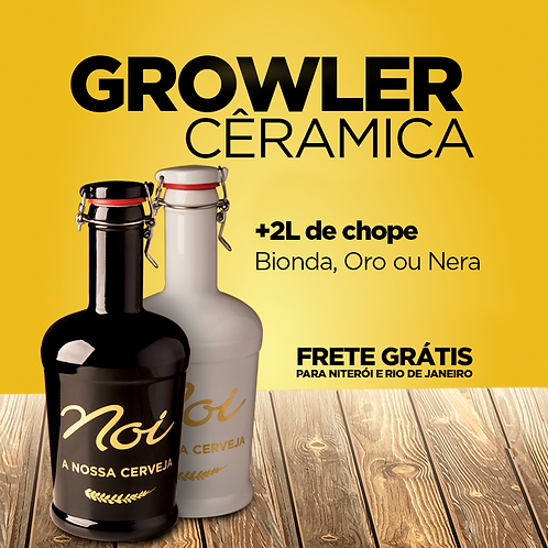 GROWLER DE CÊRAMICA NOI COM 2L DE CHOPE
