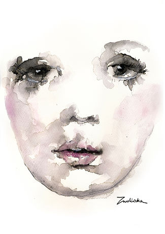 Hand-painted-portrait-made-using-watercolors-and-ink