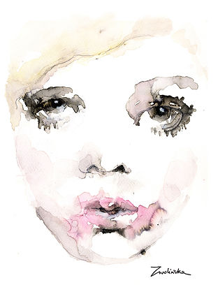 Twiggy-hand-painted-portrait-made-using-watercolors-and-ink