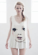 Woman's-top-with-handpainted-face-motive-printed-on-high-quality-cotton-by-Ewa-Zwolinska.