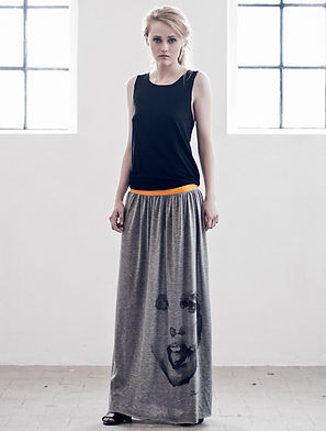 Woman's-maxi-dress-with-handpainted-face-motive-printed-on-high-quality-cotton-by-Ewa-Zwolinska.