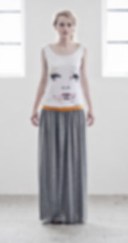 Woman's-maxi-dress-with-hand painted-face-motive-printed-on-high-quality-cotton-by-Ewa-Zwolinska.