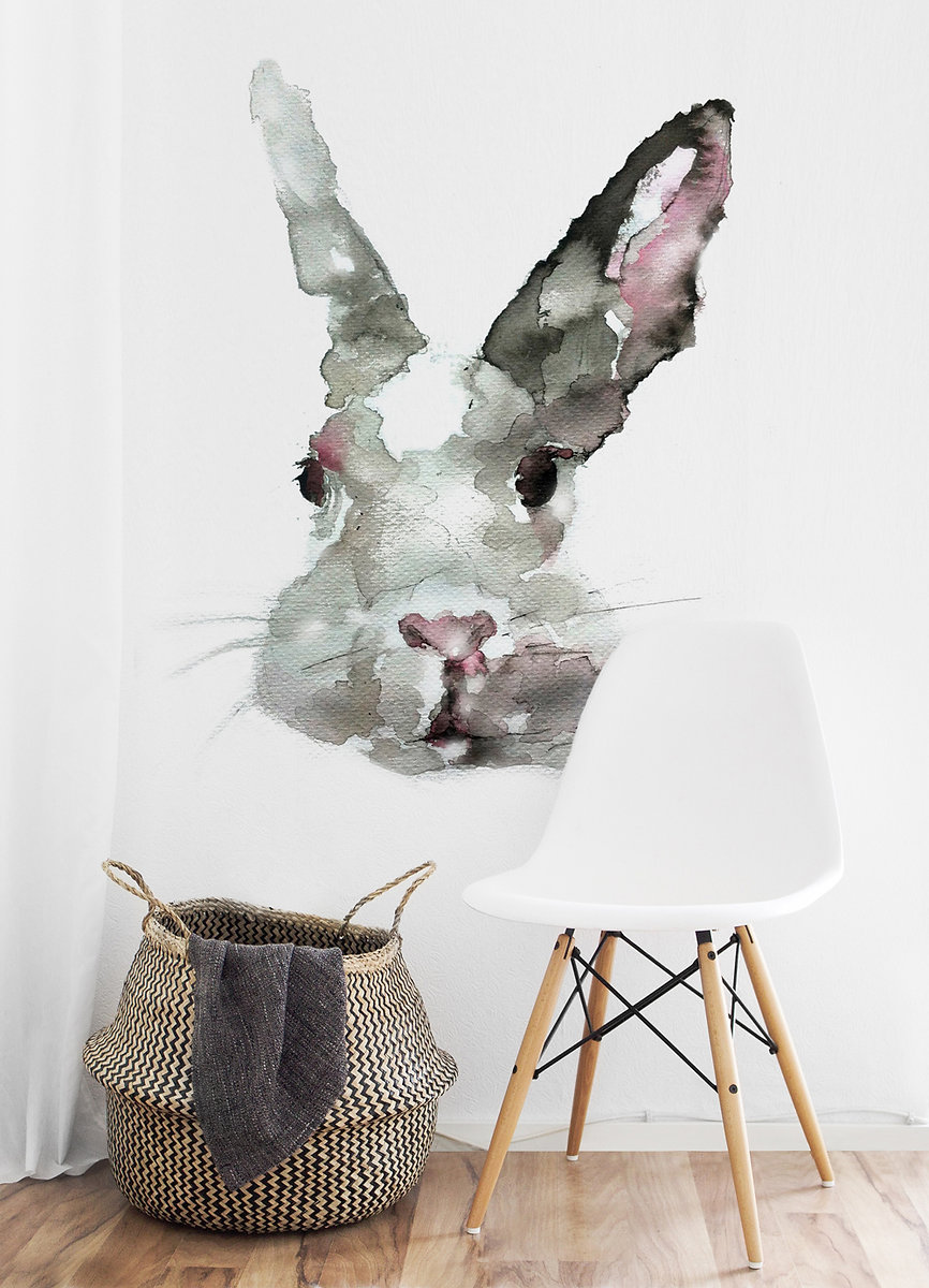 Hand-painted-graphic-of-rabbit-made-for-wall-decoration.