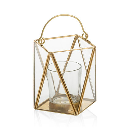 Photophore en verre et métal façon lanterne