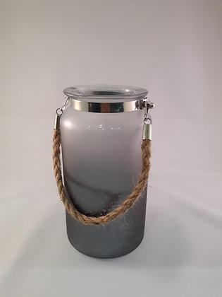 Lanterne en verre poignée corde