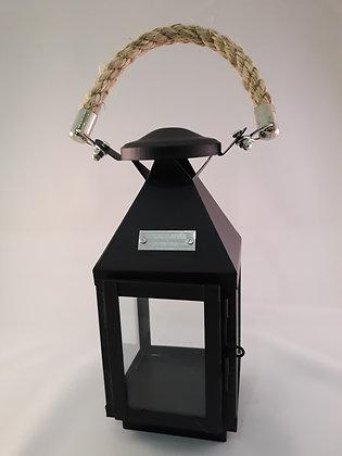 Lanterne métal noire poignée corde petit modèle