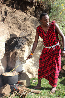 Maasai warriors' meat bush camp in Ngorongoro Conservation Area