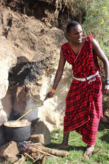 Maasai warriors' meat bush camp in Ngorongoro Conservation Area
