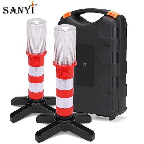 2pc LED Magnetic Flashlight Emergency Roadside Flares - Beacon Strobe - SOS Lamp