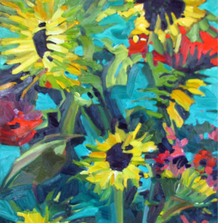 MacNeill, Denise - sunflowers  zinnias
