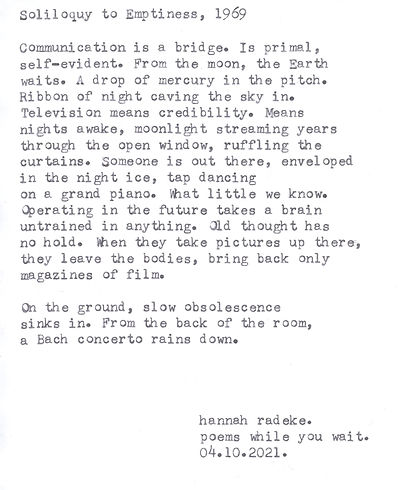 SamSoliloquy to Emptiness, 1969by Hannah