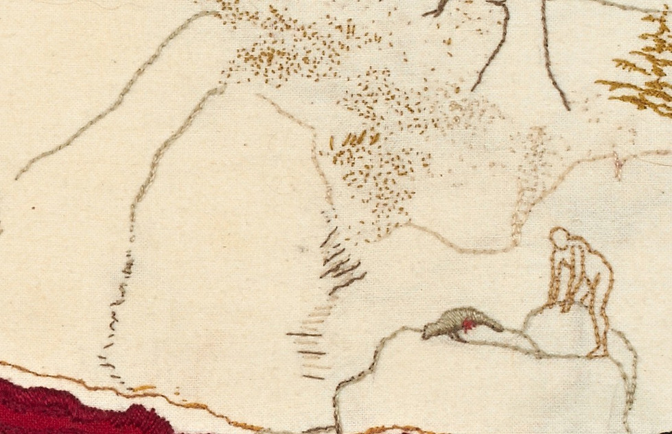 Man with dead seal (detail)