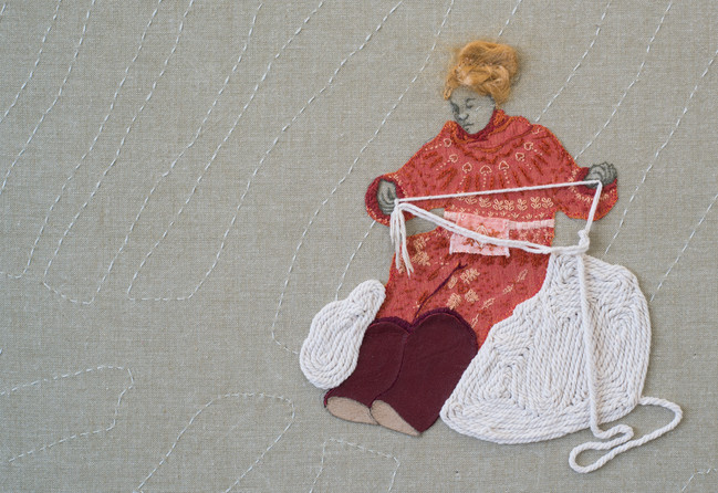 Woman plying rope (detail)