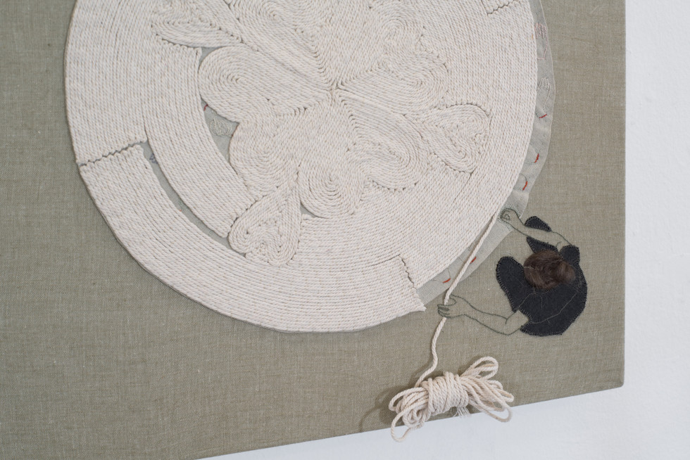 Cording rug with secret embroidery (side view)