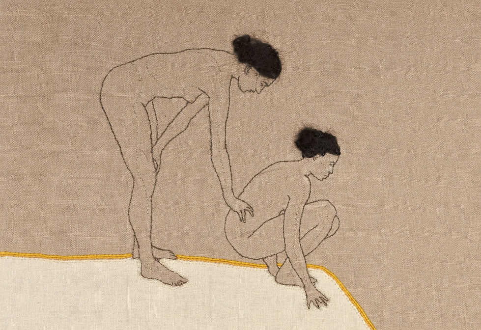 Two women with body (detail)