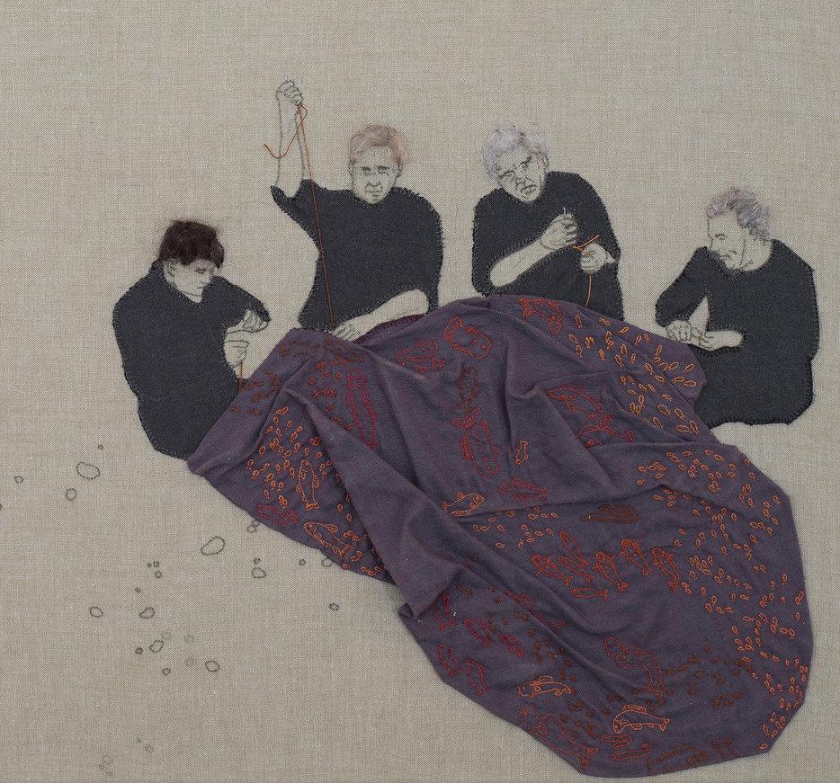 wunderfischen men sewing mermaid embroidery sampler contemporary art