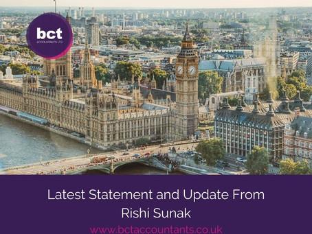 Latest Statement and Update From Rishi Sunak