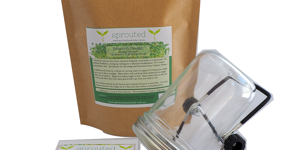 Small Essential Kit - 150g Broccoli Seeds +500ml Sprouting Jar + Draining Rack