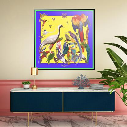 Reproduction d'Art - Couleur jaune avec bordure violette et verte