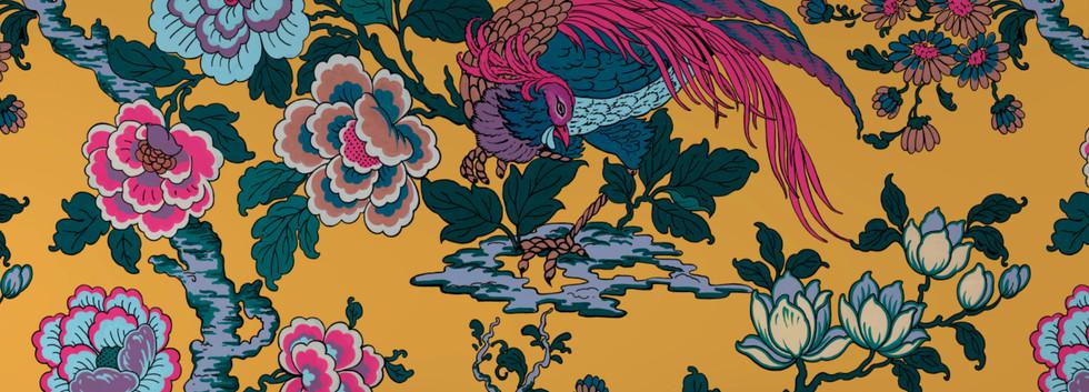 Faisans japonnisant jaune-mise en situat
