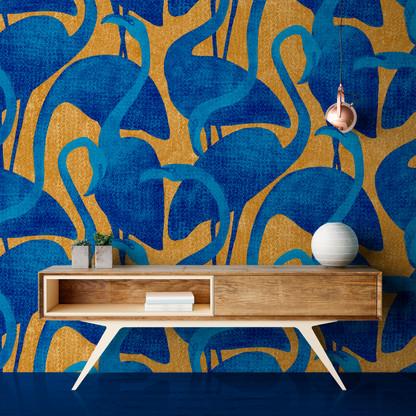 Flamants roses - Couleur Doré et Bleu