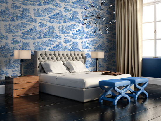 Toile de Jouy Scène Romantique - Couleur Azur