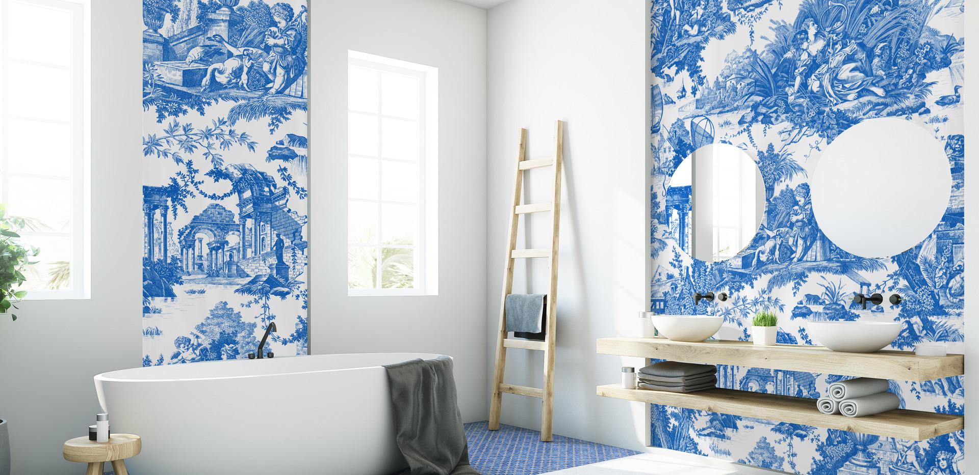 Toile de Jouy Romantique Azur