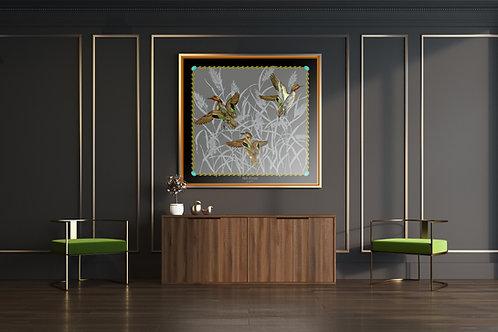 SARCELLES - 93x93cm - FOND GRIS - BORDURE NOIR - LISERE CARAMEL