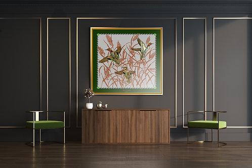 SARCELLES - 93x93cm - FOND GRIS - BORDURE VERT ANGLAIS - LISERE JAUNE OCRE