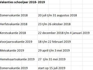 Vakantiedagen 2018-2019