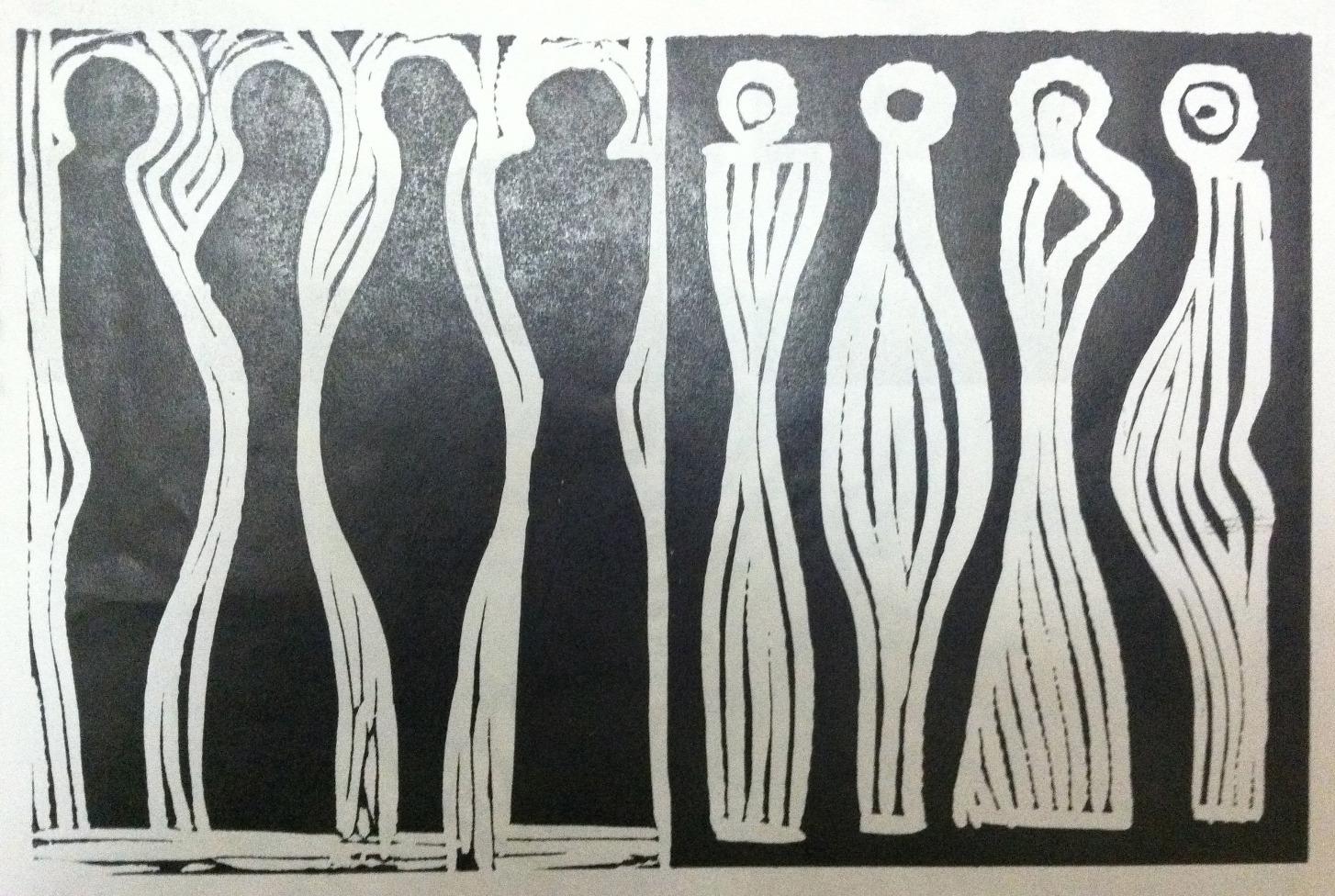 Black and White (Linoleum print)