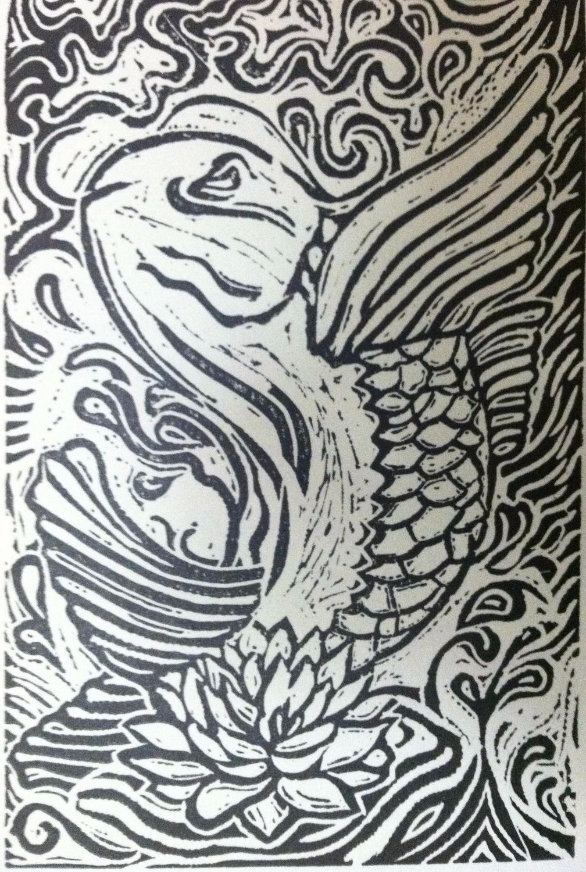 Fish (Linoleum print)