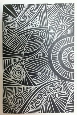 Sun rays (Linoleum print)
