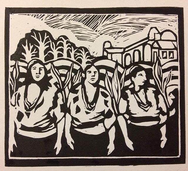 Mujeres de Oaxaca (Linoleum print)