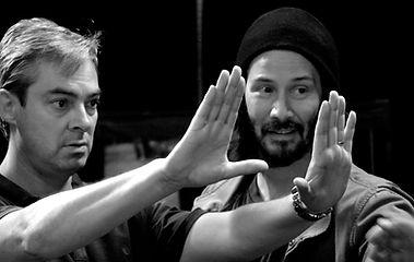 Robert Shackldy working with Keanu Reeves