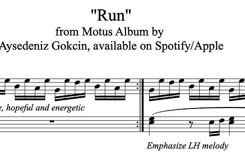 """""""Run"""" Piano Score (PDF)"""