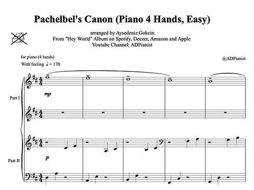 """""""Canon in D"""" Piano Score (PDF)"""