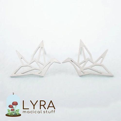 עגילי עגור אוריגמי כסופים