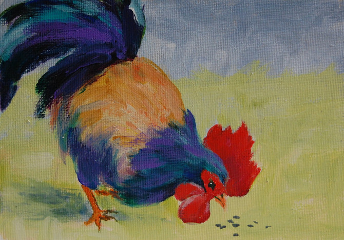 """Day 16 of 30 Paintings in 30 Days - """"Do Chickens Graze?"""""""