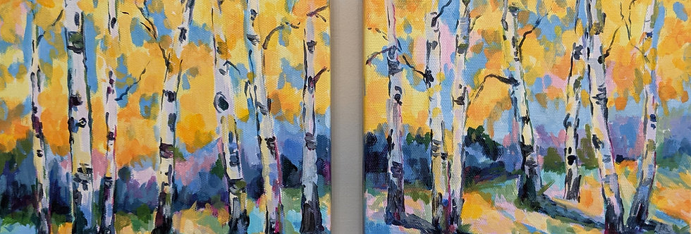 Dancing Birches - Diptych